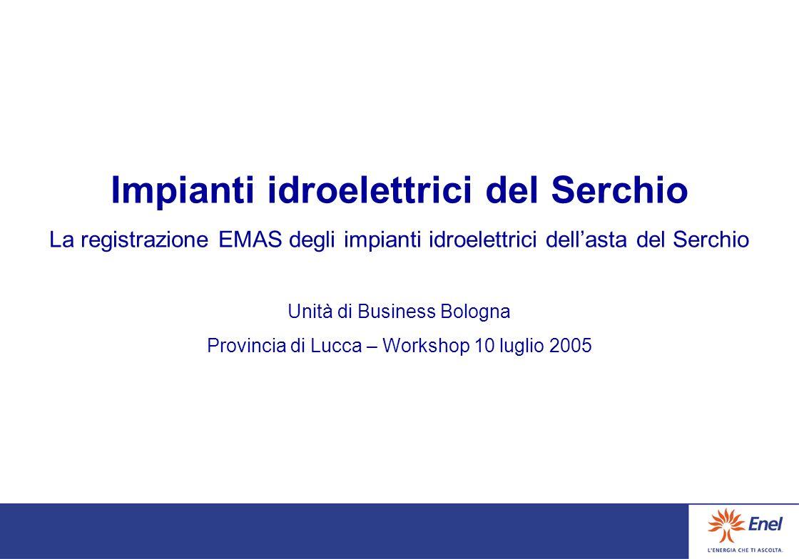 I-000316 Impianti Idroelettrici del SERCHIO La registrazione EMAS degli impianti idroelettrici dellasta del Serchio Unità di Business Bologna Provincia di Lucca – Workshop !0 luglio 2005