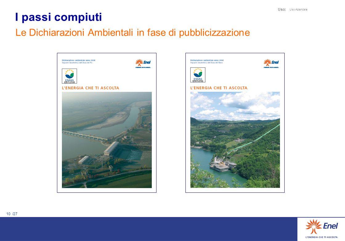 10 /27 Uso: Uso Aziendale Le Dichiarazioni Ambientali in fase di pubblicizzazione I passi compiuti