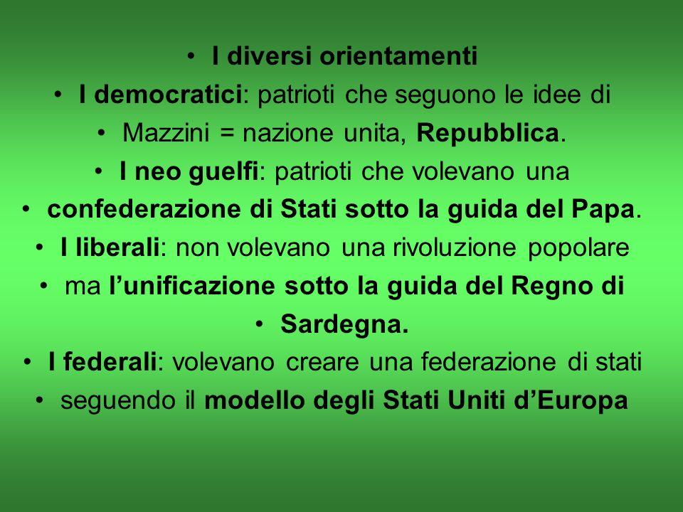 I diversi orientamenti I democratici: patrioti che seguono le idee di Mazzini = nazione unita, Repubblica.