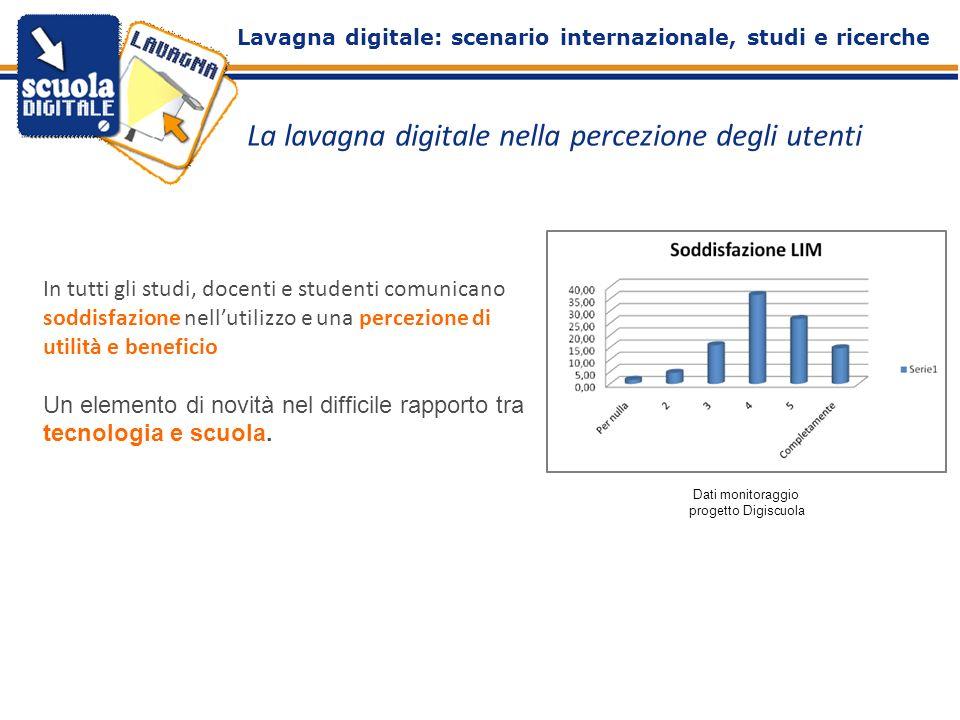 La lavagna digitale nella percezione degli utenti In tutti gli studi, docenti e studenti comunicano soddisfazione nellutilizzo e una percezione di uti