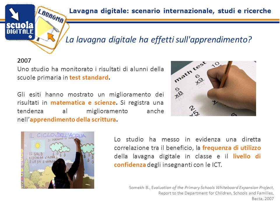 La lavagna digitale ha effetti sull'apprendimento? 2007 Uno studio ha monitorato i risultati di alunni della scuole primaria in test standard. Gli esi