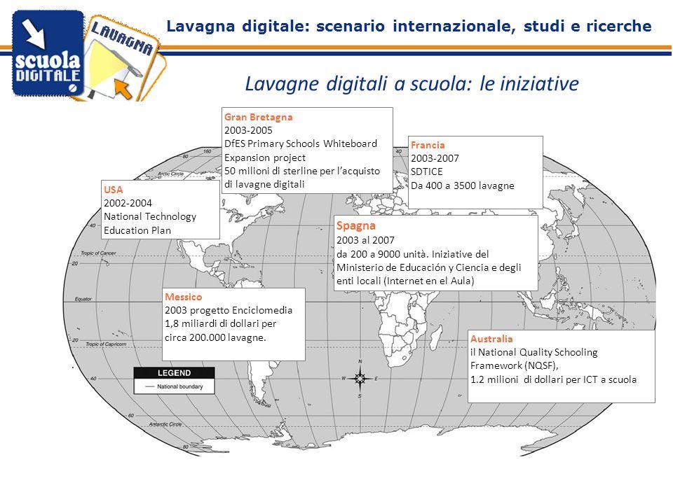 . Lavagne digitali a scuola: le iniziative Gran Bretagna 2003-2005 DfES Primary Schools Whiteboard Expansion project 50 milioni di sterline per lacqui