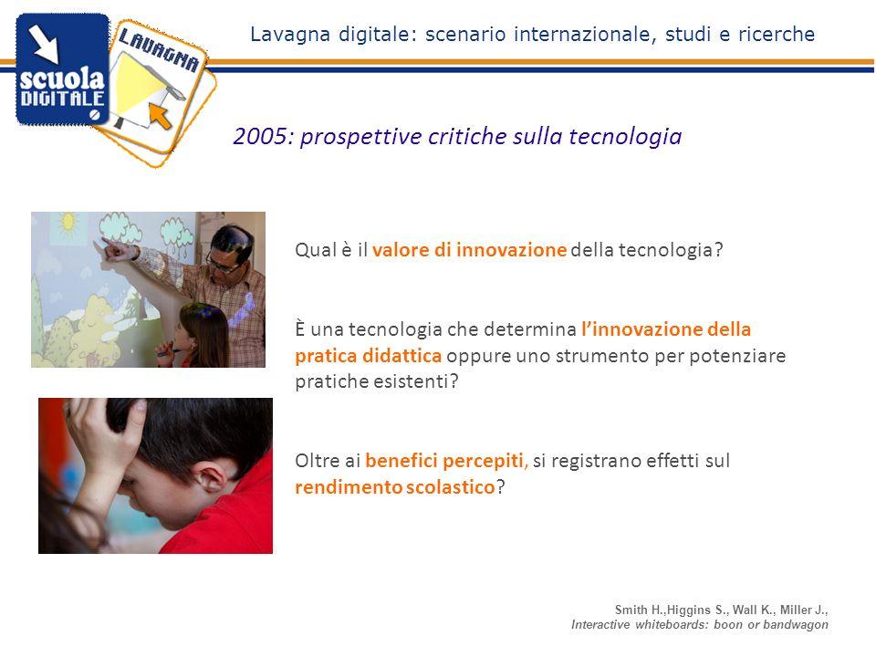 2005: prospettive critiche sulla tecnologia Smith H.,Higgins S., Wall K., Miller J., Interactive whiteboards: boon or bandwagon Qual è il valore di innovazione della tecnologia.