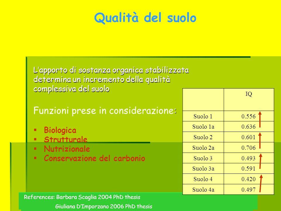Qualità del suolo Lapporto di sostanza organica stabilizzata determina un incremento della qualità complessiva del suolo : Funzioni prese in considera