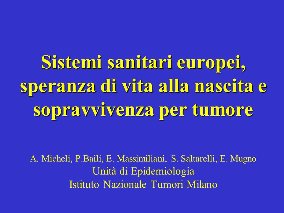 Fonti Fonti: Cancer Survival in European Elderly Patients and its Health, Social and Economic Determinants; Eurocare-2; Global Development Network Growth Database - William Easterly and Mirvat Sewadeh World Bank Speranza di vita (anni) SR a 5 anni Tumore del colon (%) SR a 5 anni.