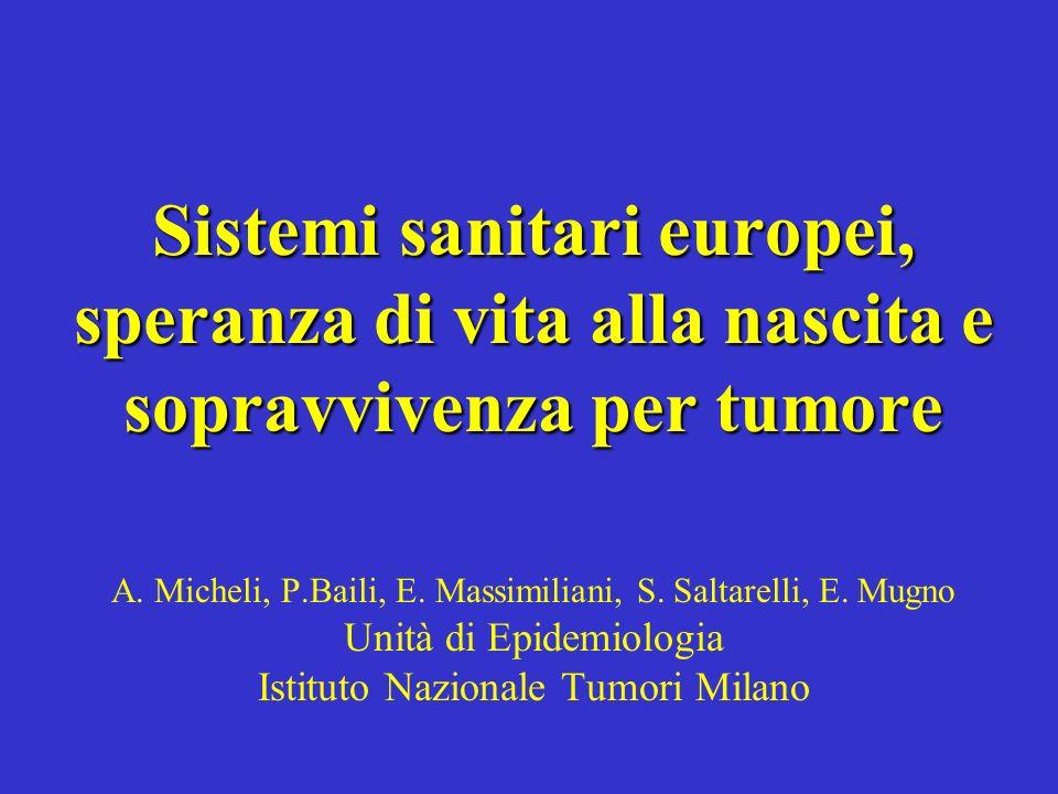 Sistemi sanitari europei, speranza di vita alla nascita e sopravvivenza per tumore Sistemi sanitari europei, speranza di vita alla nascita e sopravviv