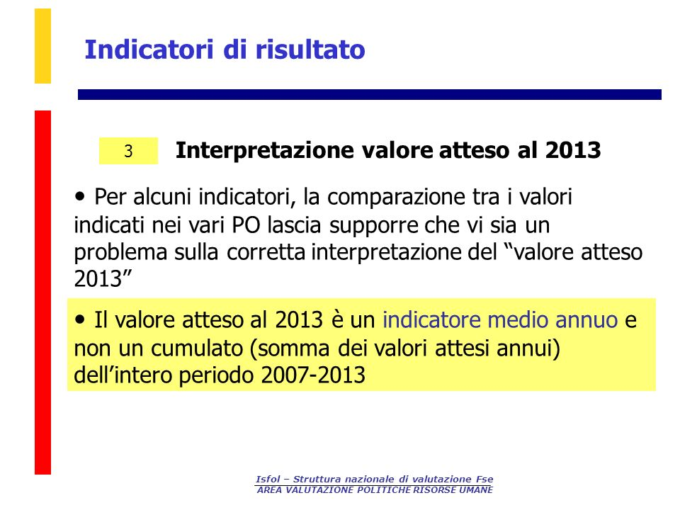 Isfol – Struttura nazionale di valutazione Fse AREA VALUTAZIONE POLITICHE RISORSE UMANE Interpretazione valore atteso al 2013 Indicatori di risultato