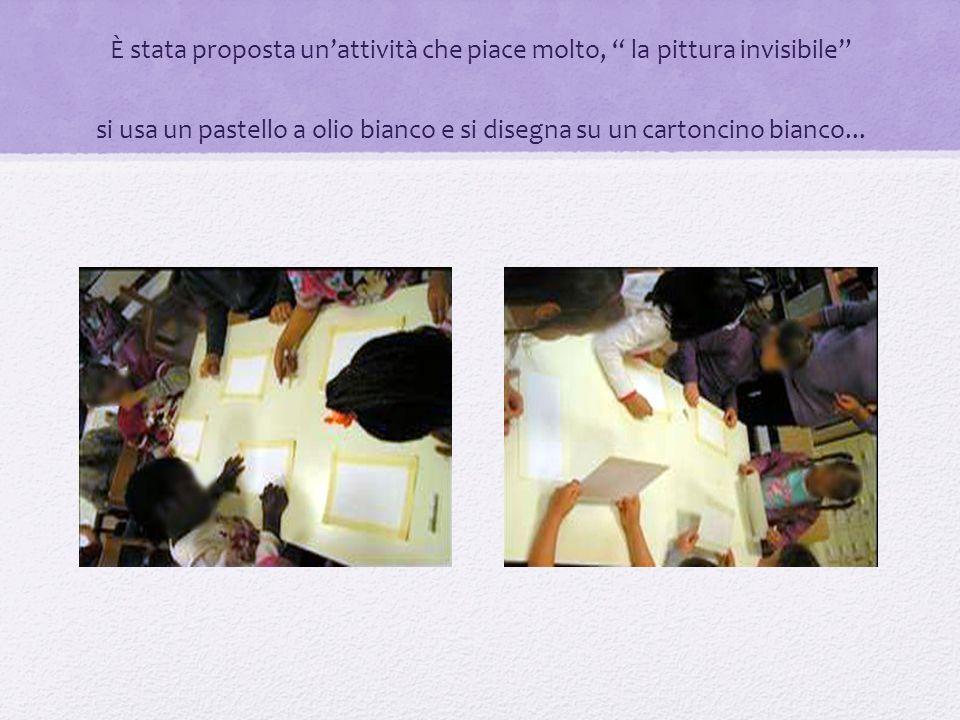 È stata proposta unattività che piace molto, la pittura invisibile si usa un pastello a olio bianco e si disegna su un cartoncino bianco...