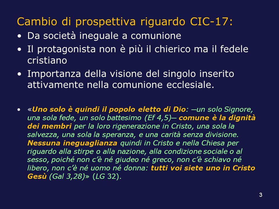 Cambio di prospettiva riguardo CIC-17: Da società ineguale a comunione Il protagonista non è più il chierico ma il fedele cristiano Importanza della v