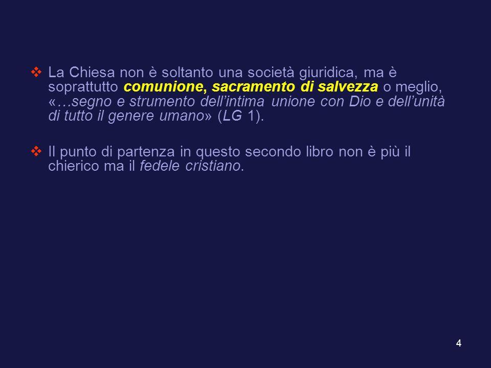 5 PARTE I I FEDELI CRISTIANI 1.Canoni introduttivi (can.