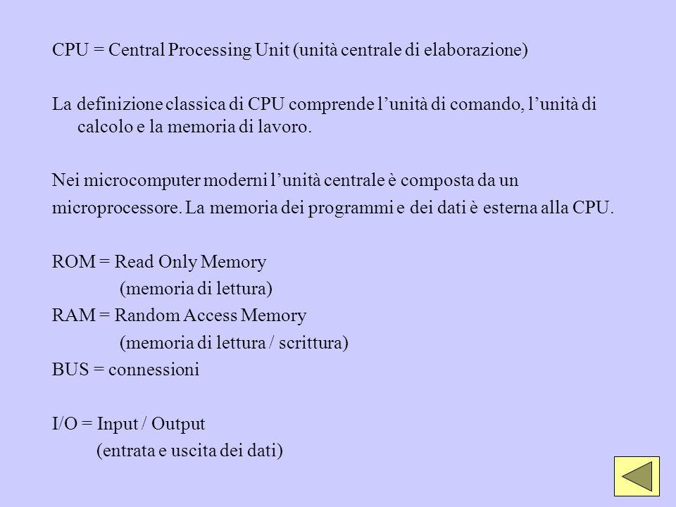 CPU = Central Processing Unit (unità centrale di elaborazione) La definizione classica di CPU comprende lunità di comando, lunità di calcolo e la memo