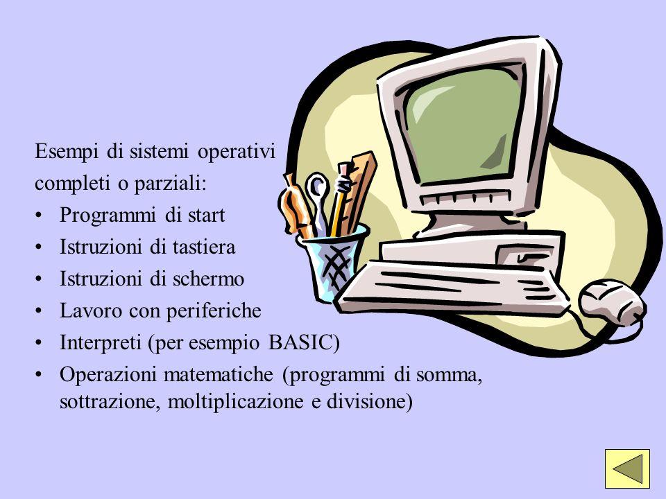 Esempi di sistemi operativi completi o parziali: Programmi di start Istruzioni di tastiera Istruzioni di schermo Lavoro con periferiche Interpreti (pe