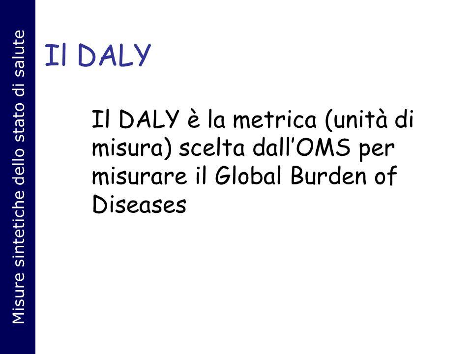 Il DALY Il DALY è la metrica (unità di misura) scelta dallOMS per misurare il Global Burden of Diseases Misure sintetiche dello stato di salute