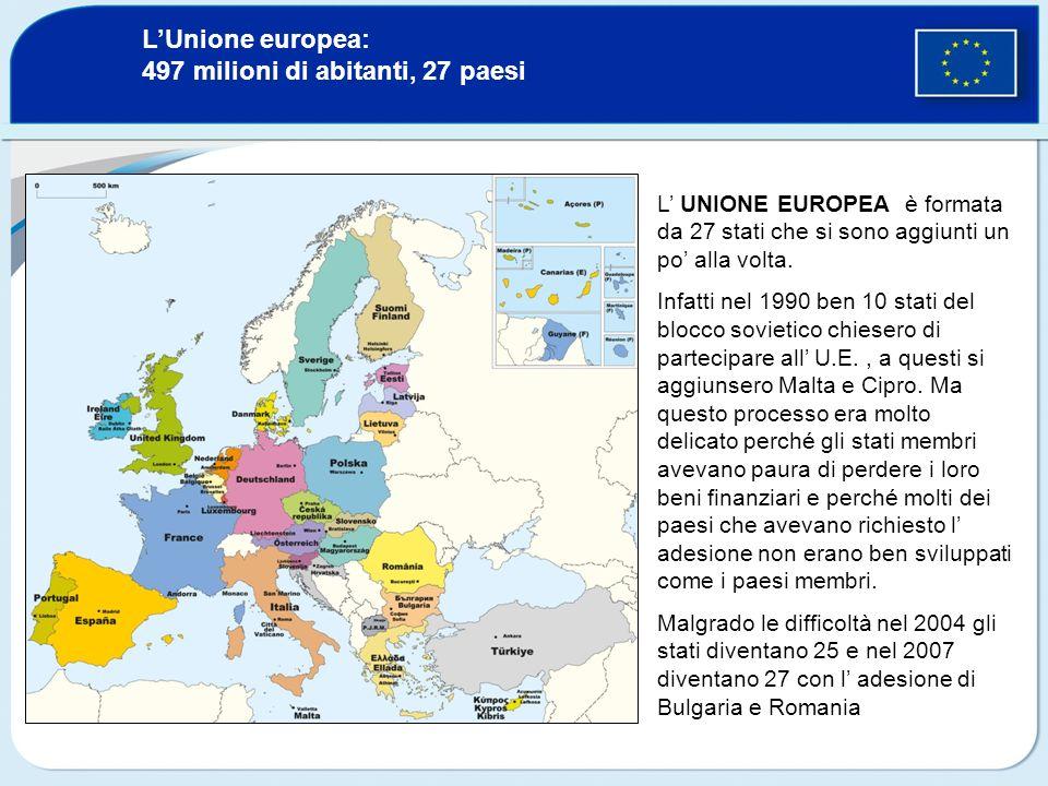 LUnione europea: 497 milioni di abitanti, 27 paesi L UNIONE EUROPEA è formata da 27 stati che si sono aggiunti un po alla volta. Infatti nel 1990 ben