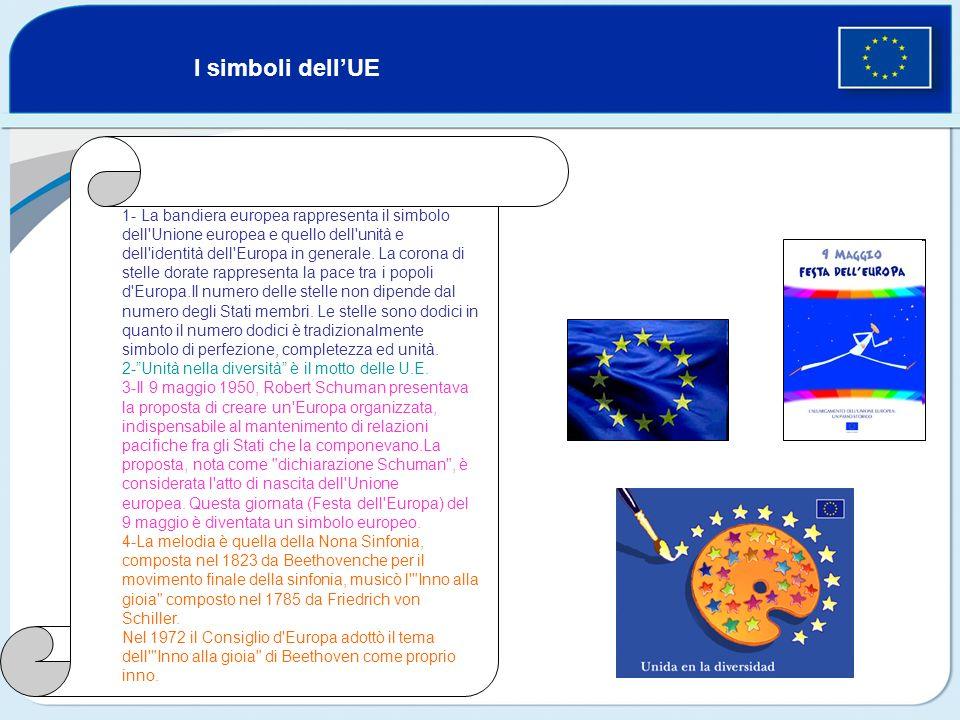 I simboli dellUE 1- La bandiera europea rappresenta il simbolo dell'Unione europea e quello dell'unità e dell'identità dell'Europa in generale. La cor