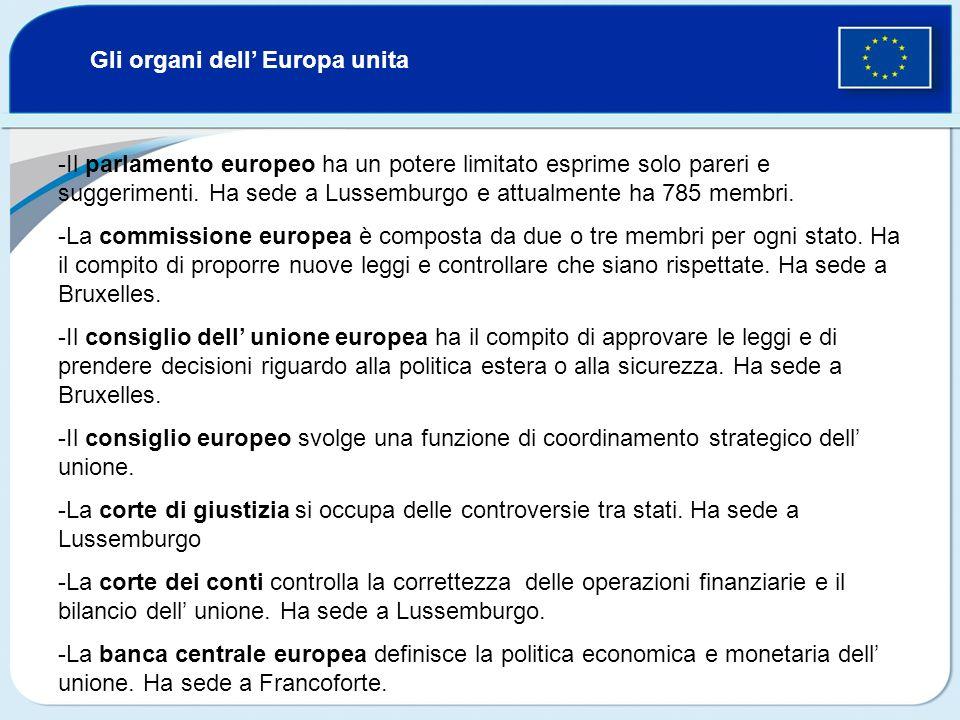 Gli organi dell Europa unita -Il parlamento europeo ha un potere limitato esprime solo pareri e suggerimenti. Ha sede a Lussemburgo e attualmente ha 7