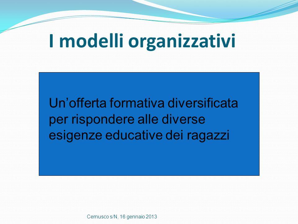 I modelli organizzativi Cernusco s/N, 16 gennaio 2013 Unofferta formativa diversificata per rispondere alle diverse esigenze educative dei ragazzi