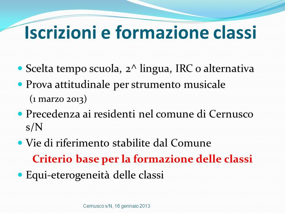 Iscrizioni e formazione classi Scelta tempo scuola, 2^ lingua, IRC o alternativa Prova attitudinale per strumento musicale (1 marzo 2013) Precedenza a