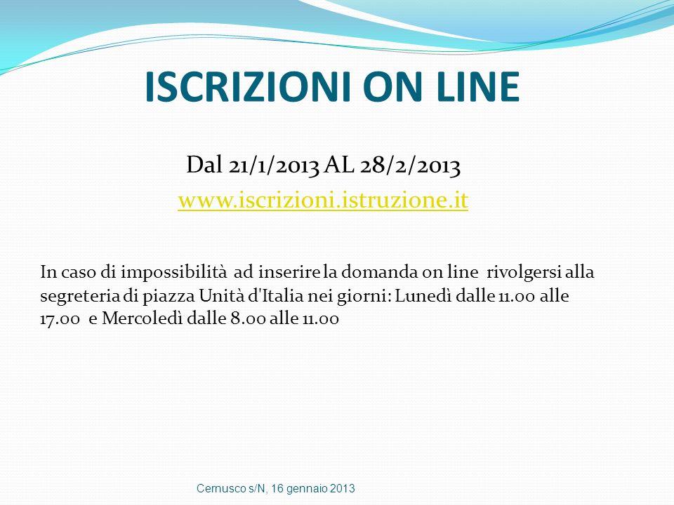 ISCRIZIONI ON LINE Dal 21/1/2013 AL 28/2/2013 www.iscrizioni.istruzione.it In caso di impossibilità ad inserire la domanda on line rivolgersi alla seg
