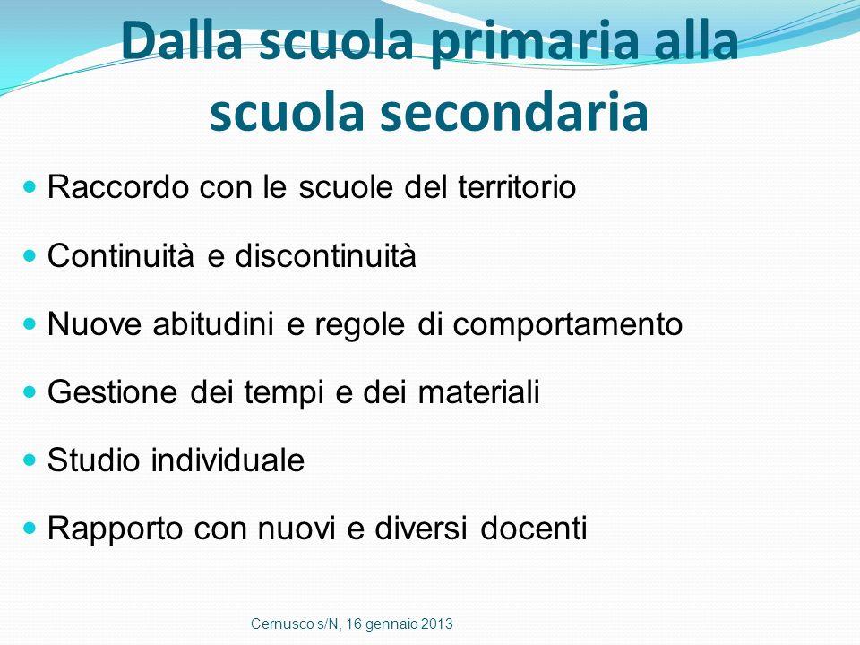 Dalla scuola primaria alla scuola secondaria Raccordo con le scuole del territorio Continuità e discontinuità Nuove abitudini e regole di comportament