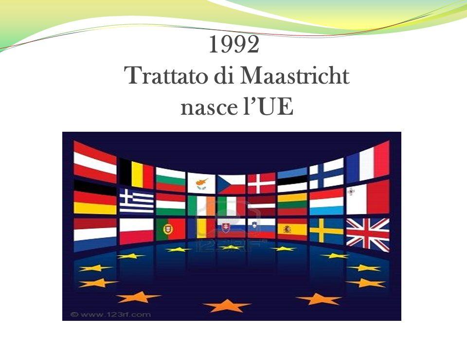 1992 Trattato di Maastricht nasce lUE