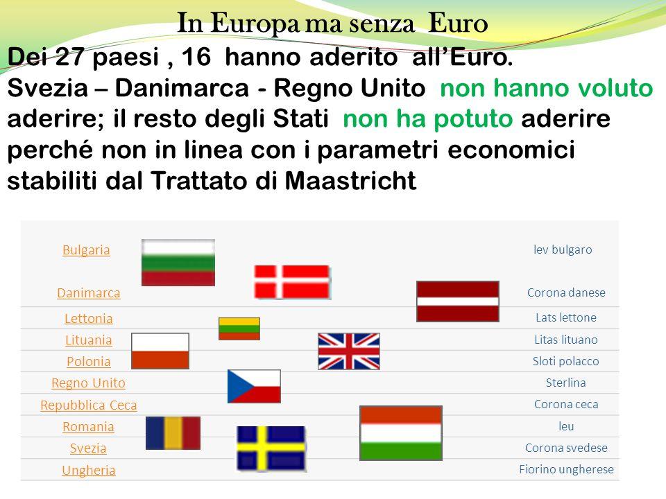 Bulgaria lev bulgaro Danimarca Corona danese Lettonia Lats lettone Lituania Litas lituano Polonia Sloti polacco Regno Unito Sterlina Repubblica Ceca C