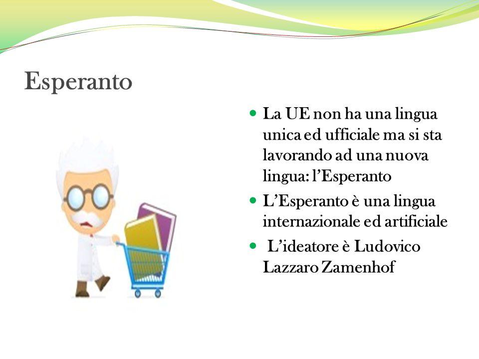 Esperanto La UE non ha una lingua unica ed ufficiale ma si sta lavorando ad una nuova lingua: lEsperanto LEsperanto è una lingua internazionale ed art