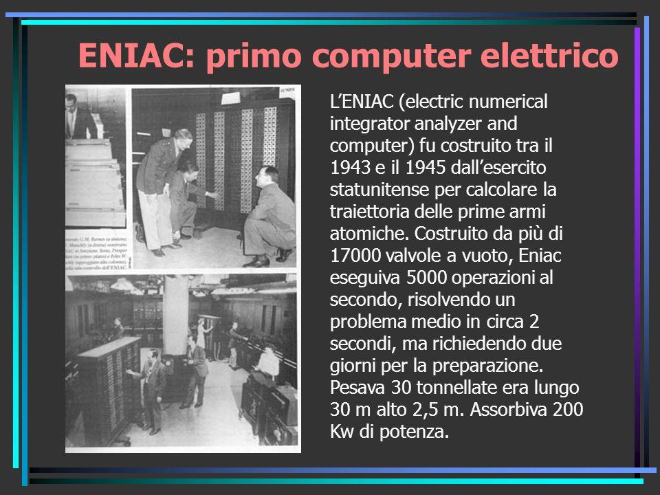 ENIAC: primo computer elettrico LENIAC (electric numerical integrator analyzer and computer) fu costruito tra il 1943 e il 1945 dallesercito statunitense per calcolare la traiettoria delle prime armi atomiche.