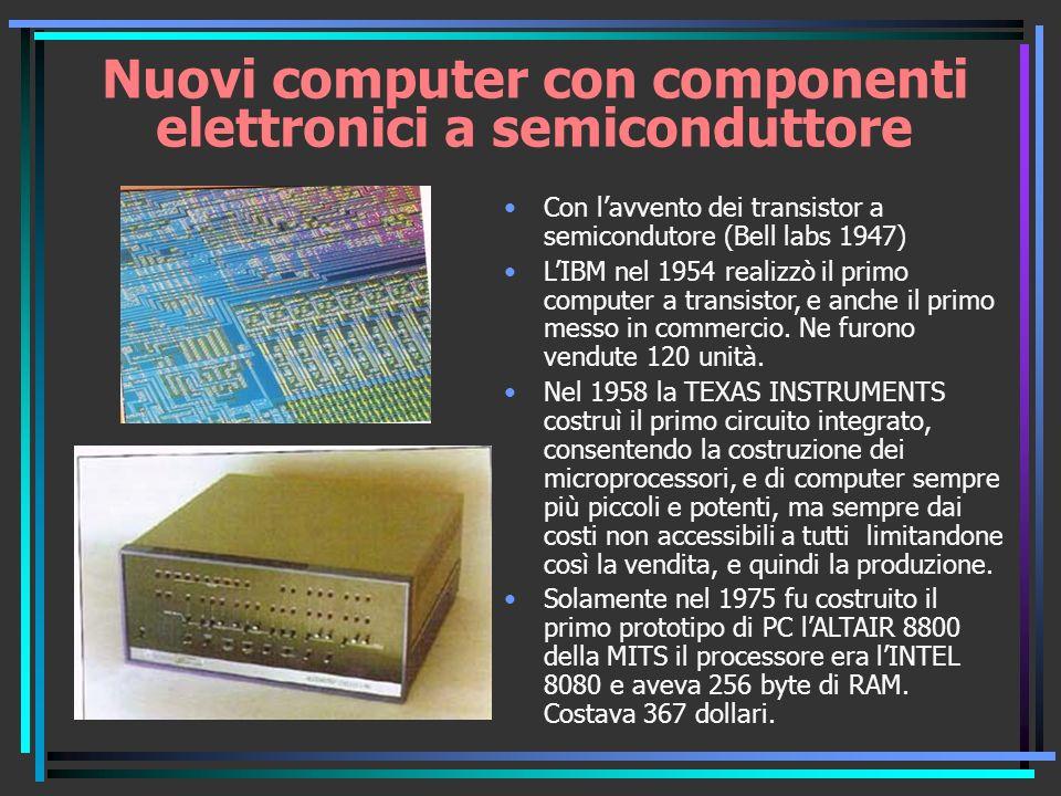 Nuovi computer con componenti elettronici a semiconduttore Con lavvento dei transistor a semicondutore (Bell labs 1947) LIBM nel 1954 realizzò il primo computer a transistor, e anche il primo messo in commercio.