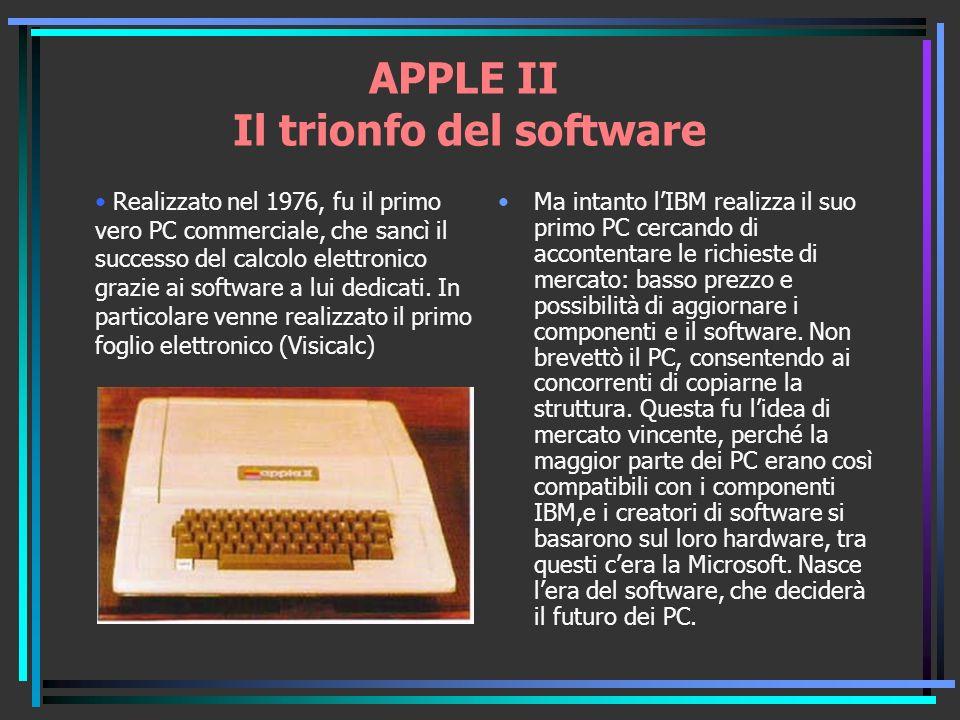 APPLE II Il trionfo del software Ma intanto lIBM realizza il suo primo PC cercando di accontentare le richieste di mercato: basso prezzo e possibilità di aggiornare i componenti e il software.