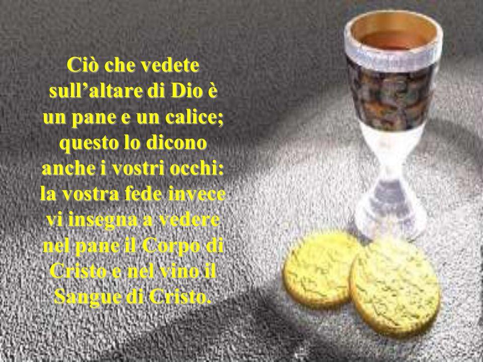 Ciò che vedete sullaltare di Dio è un pane e un calice; questo lo dicono anche i vostri occhi: la vostra fede invece vi insegna a vedere nel pane il C
