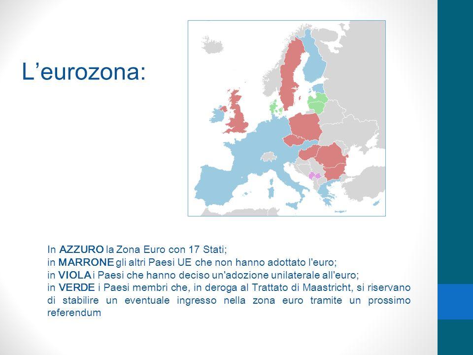 Leurozona: In AZZURO la Zona Euro con 17 Stati; in MARRONE gli altri Paesi UE che non hanno adottato l'euro; in VIOLA i Paesi che hanno deciso un'adoz