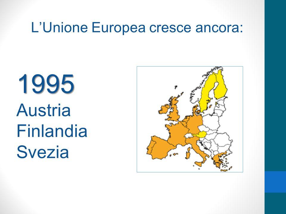 LUnione Europea cresce ancora: 1995 Austria Finlandia Svezia