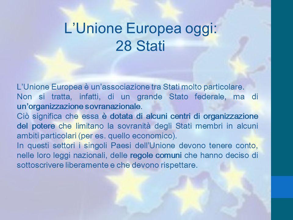 LUnione Europea oggi: 28 Stati LUnione Europea è unassociazione tra Stati molto particolare. Non si tratta, infatti, di un grande Stato federale, ma d