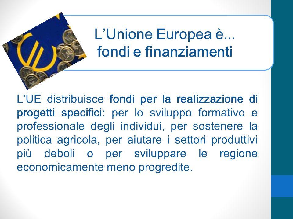 LUnione Europea è... fondi e finanziamenti LUE distribuisce fondi per la realizzazione di progetti specifici: per lo sviluppo formativo e professional