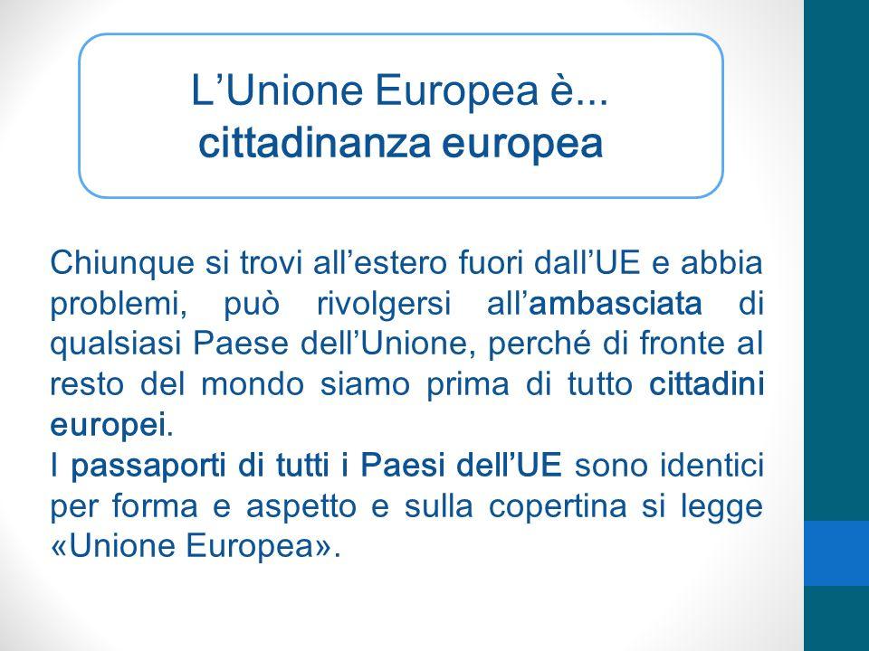 LUnione Europea è... cittadinanza europea Chiunque si trovi allestero fuori dallUE e abbia problemi, può rivolgersi allambasciata di qualsiasi Paese d