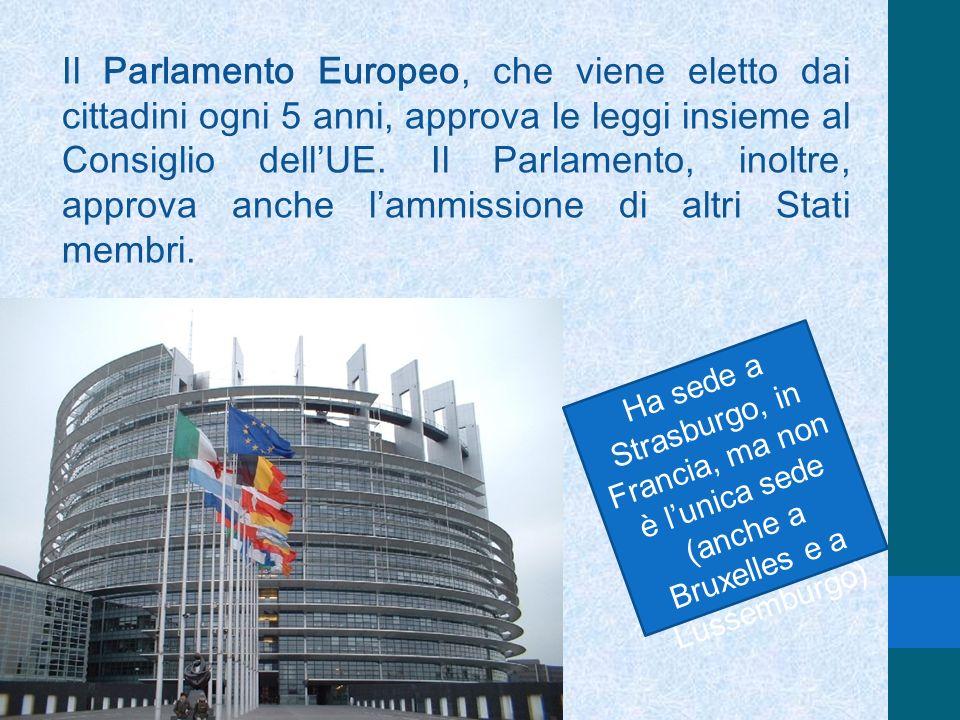 Il Parlamento Europeo, che viene eletto dai cittadini ogni 5 anni, approva le leggi insieme al Consiglio dellUE. Il Parlamento, inoltre, approva anche