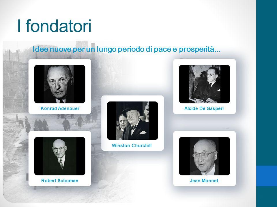 I fondatori Idee nuove per un lungo periodo di pace e prosperità... Konrad Adenauer Robert Schuman Winston Churchill Alcide De Gasperi Jean Monnet
