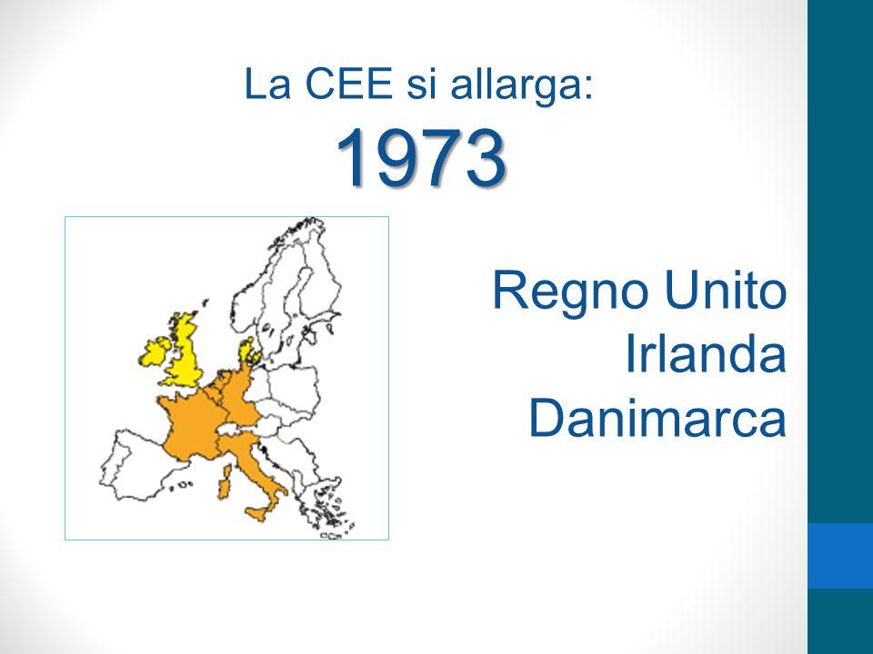 La CEE si allarga:1973 Regno Unito Irlanda Danimarca
