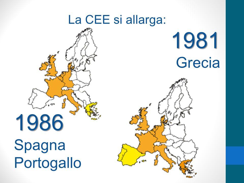 La CEE si allarga:1981 Grecia1986 Spagna Portogallo
