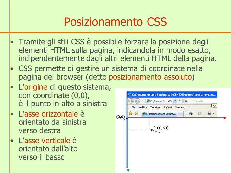 Posizionamento CSS Tramite gli stili CSS è possibile forzare la posizione degli elementi HTML sulla pagina, indicandola in modo esatto, indipendentemente dagli altri elementi HTML della pagina.