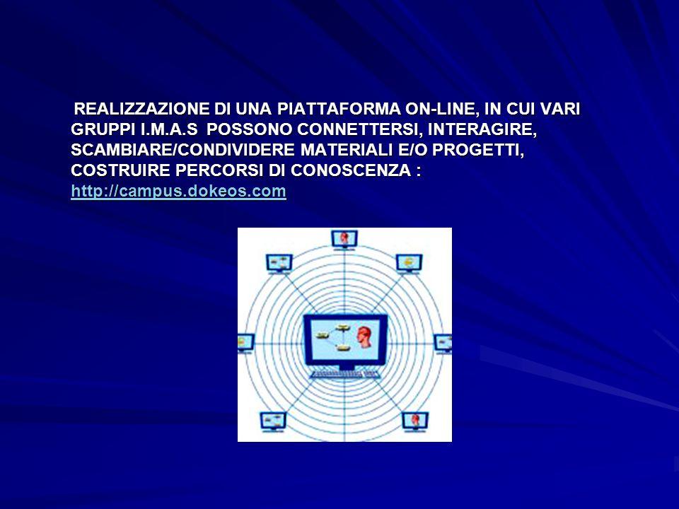 REALIZZAZIONE DI UNA PIATTAFORMA ON-LINE, IN CUI VARI GRUPPI I.M.A.S POSSONO CONNETTERSI, INTERAGIRE, SCAMBIARE/CONDIVIDERE MATERIALI E/O PROGETTI, CO