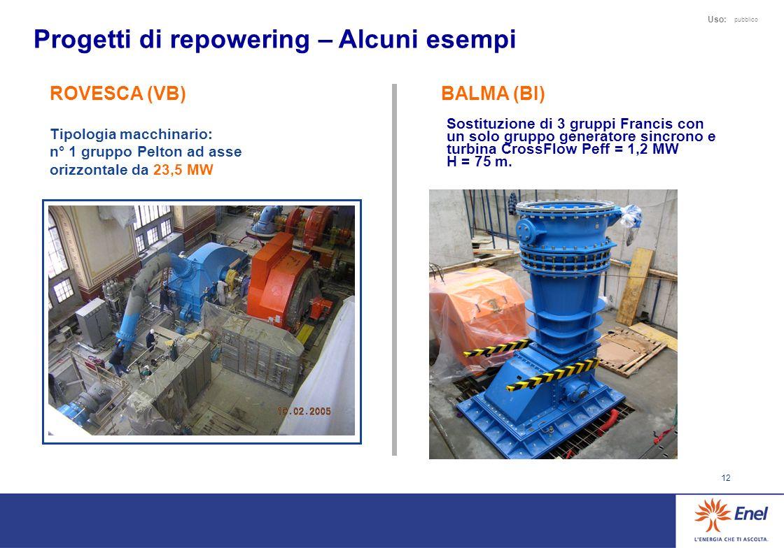 12 Uso: pubblico Progetti di repowering – Alcuni esempi ROVESCA (VB) Tipologia macchinario: n° 1 gruppo Pelton ad asse orizzontale da 23,5 MW BALMA (BI) Sostituzione di 3 gruppi Francis con un solo gruppo generatore sincrono e turbina CrossFlow Peff = 1,2 MW H = 75 m.
