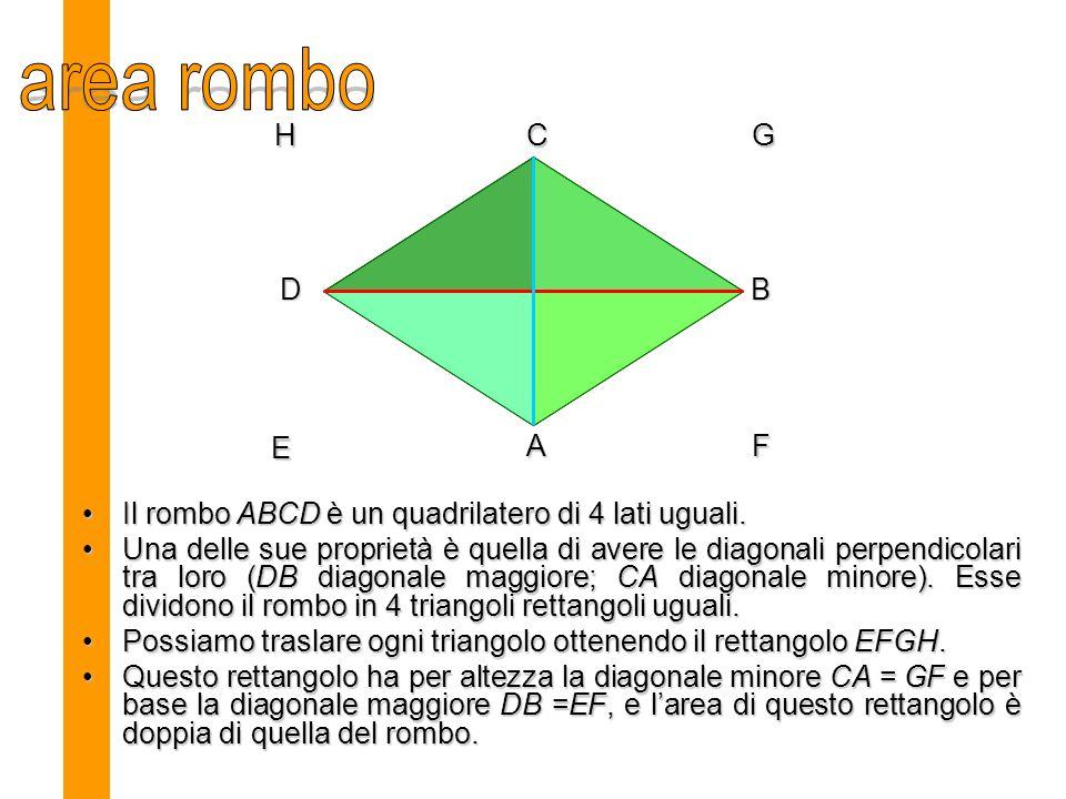 Il rombo ABCD è un quadrilatero di 4 lati uguali.Il rombo ABCD è un quadrilatero di 4 lati uguali.