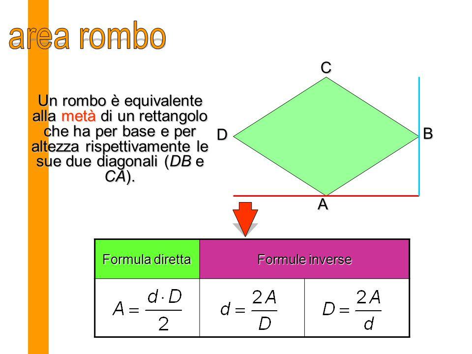 Un rombo è equivalente alla metà di un rettangolo che ha per base e per altezza rispettivamente le sue due diagonali (DB e CA).