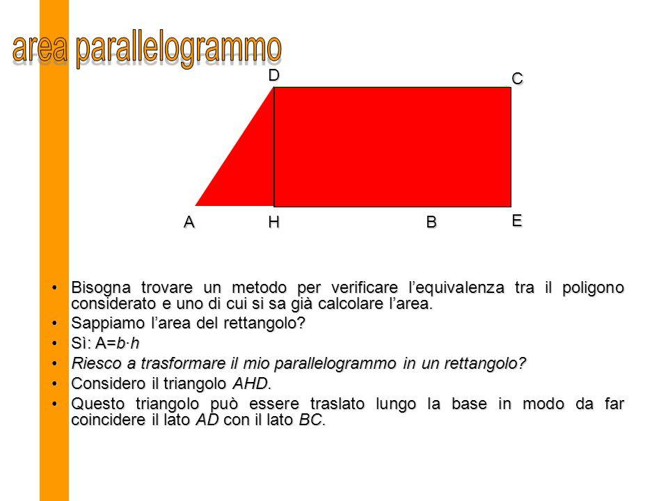 Bisogna trovare un metodo per verificare lequivalenza tra il poligono considerato e uno di cui si sa già calcolare larea.Bisogna trovare un metodo per verificare lequivalenza tra il poligono considerato e uno di cui si sa già calcolare larea.