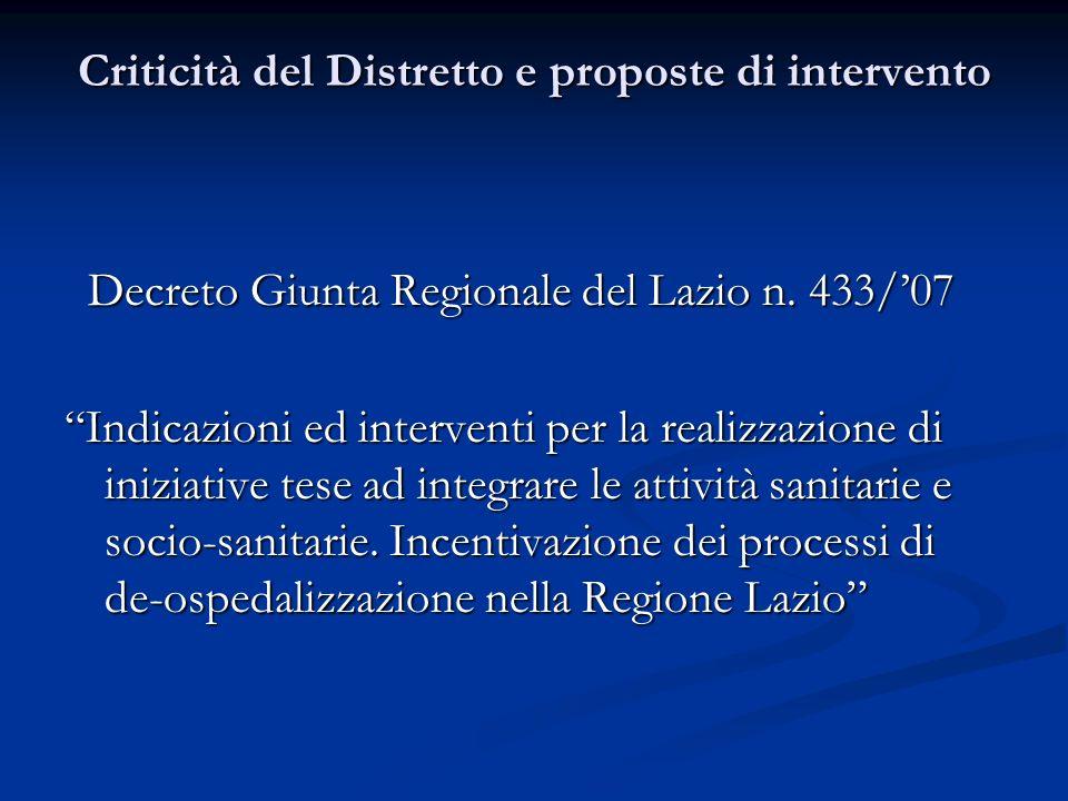 Criticità del Distretto e proposte di intervento Decreto Giunta Regionale del Lazio n.