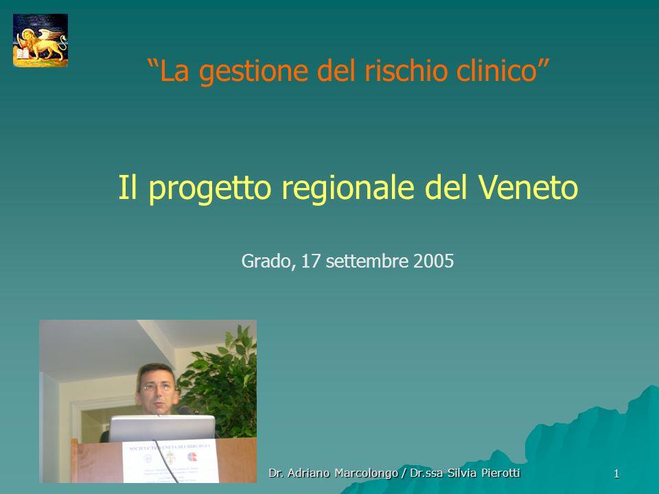 Dr. Adriano Marcolongo / Dr.ssa Silvia Pierotti 1 La gestione del rischio clinico Il progetto regionale del Veneto Grado, 17 settembre 2005