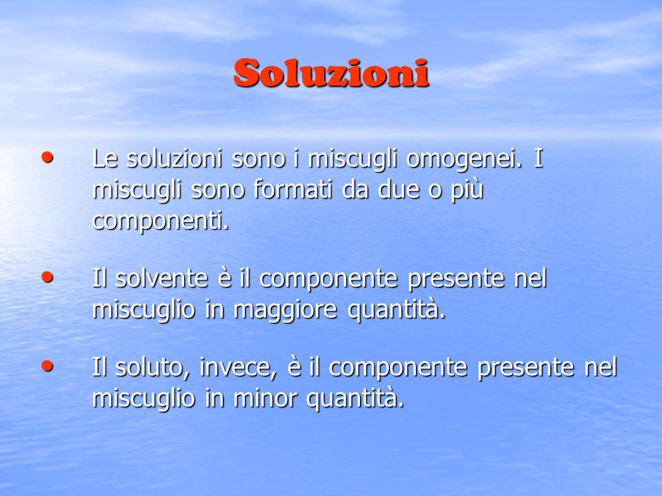 Soluzioni Le soluzioni sono i miscugli omogenei. I miscugli sono formati da due o più componenti. Le soluzioni sono i miscugli omogenei. I miscugli so