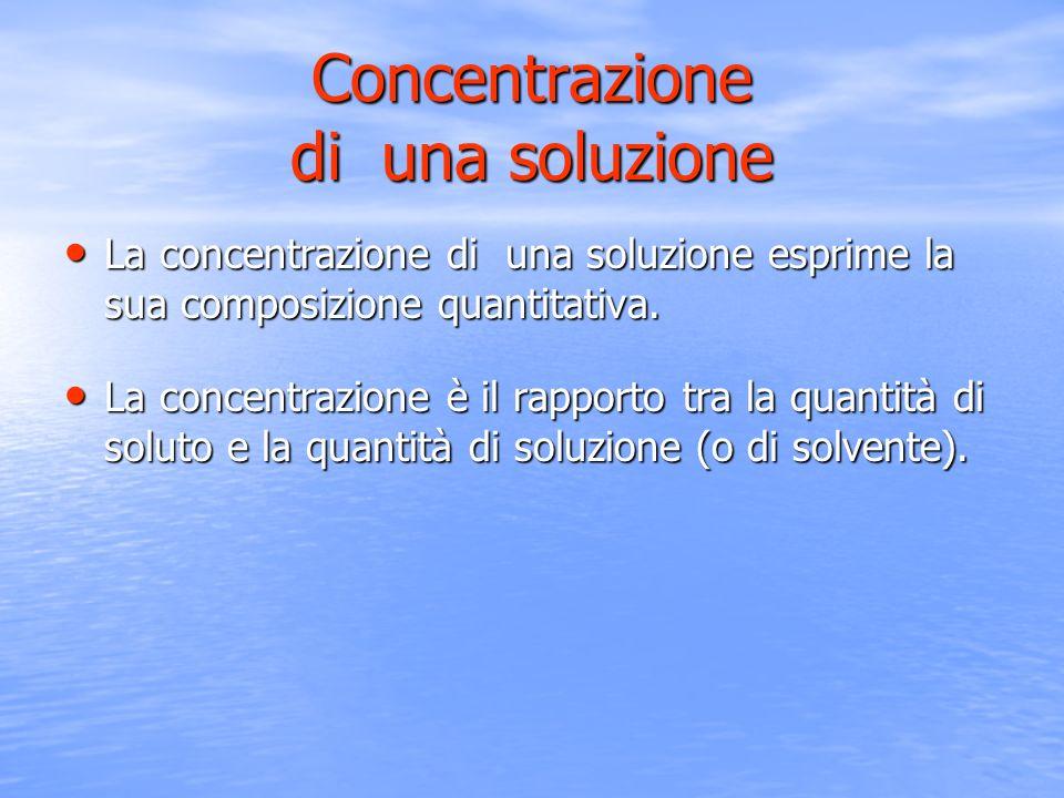 Concentrazione di una soluzione La concentrazione di una soluzione esprime la sua composizione quantitativa. La concentrazione di una soluzione esprim